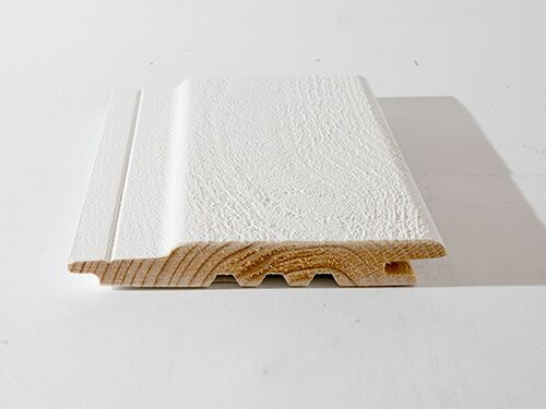 External Fire Retardant Treated Timber cladding Euro Class B BS EN13501-1 Opaque White sample 1 Textured sawn face secret fix concealed profile Timber Focus