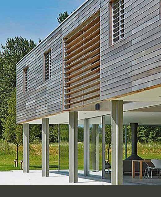 Cladding with horizontal western red cedar boards. Photo: Paul Riddle